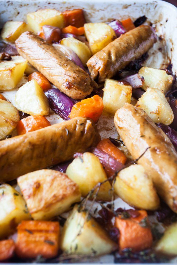 Sticky Veggie Sausage Traybake from Great British Vegan by Aimee Ryan