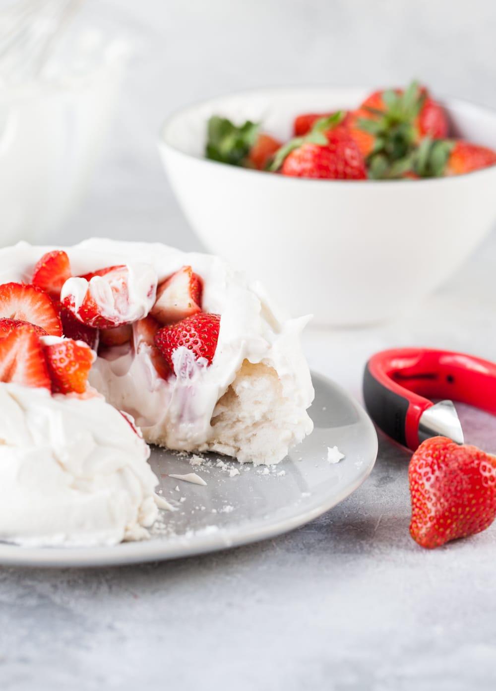 Vegan Pavlova with Strawberries & Cream