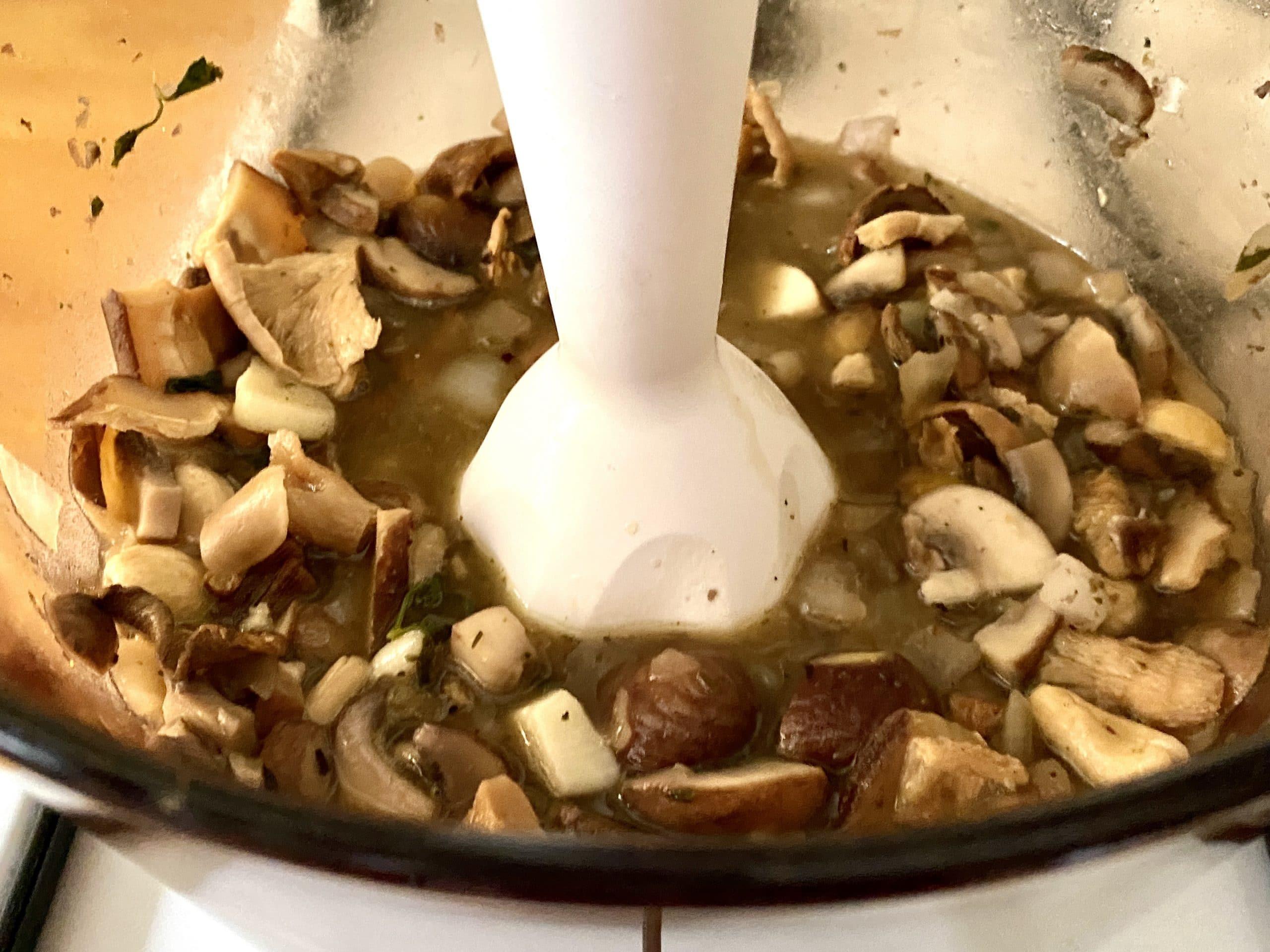 Mushroom and Chestnut Soup (Vegan) - Blending